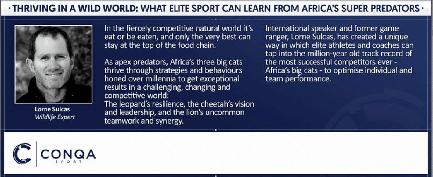Lorne Sulcas - The Big Cat Guy - CONQA Sport Summit Event Program